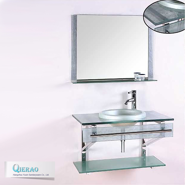 Bathroom glass washbasin design vanity with bar sink