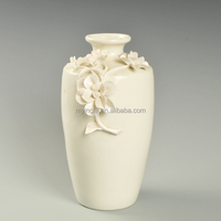 Chinese traditional style white ceramic hand-made flower vase