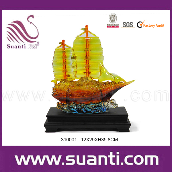 Chinese good luck fengshui crafts sailing boat sculpture chinese souvenir