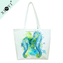 Fashion full print customized sublimation canvas tote bag large reusable shopping bag