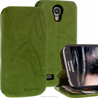 Geniune Leather Lucca Bookstyle case for Samsung Galaxy S4 SIIII i9500 i9505 Washed Green Cow Leather