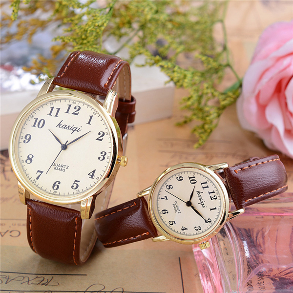 Hot selling leahter band couple wrist watch for men and women