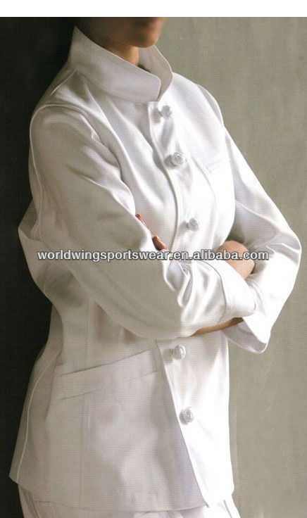 Ladies white polyester cotton twill chef work suits
