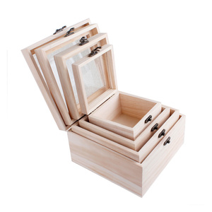 Luxury small hinges metal clasp gift packaging plain custom wooden box