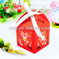 Shiny Red Wedding heart shape favor box(ZH-073)