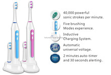 rechargeable electric sonic toothbrush fl-v15 with 3 brush heads