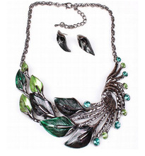The peacock's tail han edition exaggerated fashion jewelry suit necklace flowers alloy choker bib statement necklace collar set