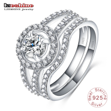 Elegant Man/Woman 18K White Gold Plated 925 Sterling Silver Jewelry Ring Sets with Crystal Zircon SRI0022-B