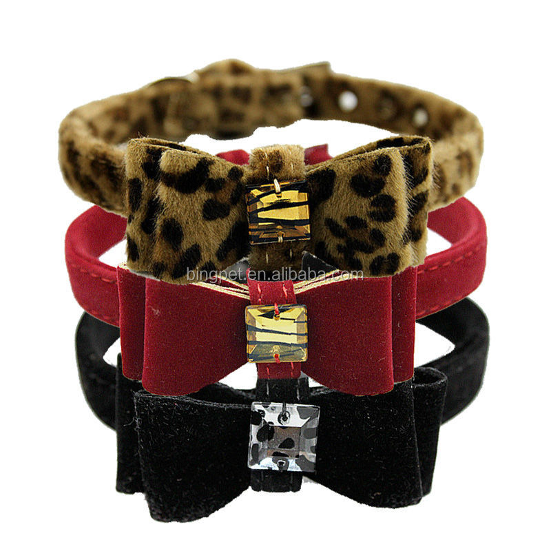 wholesale animal fur printed Jewelry Bow tie dog collar for small <strong>pets</strong>