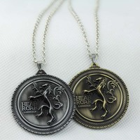 Game of Thrones Family crest Casterly Rock:House Lannister Silver Metal men's jewelry Necklace KN-78