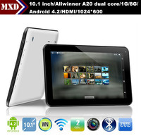cheap tablet 10.1 inch Allwinner A20 dual core 1G/8G Android dual camera wifi HDMI
