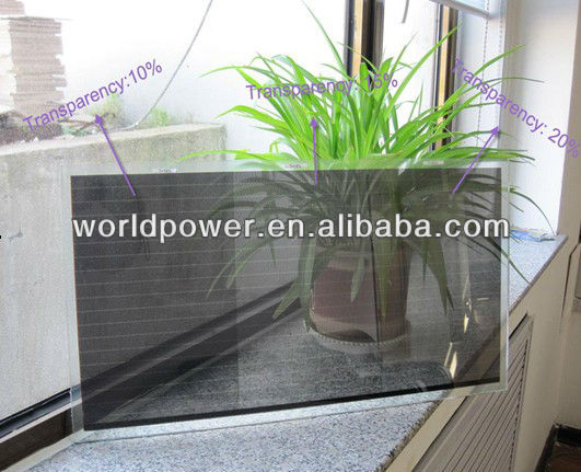 20% Transparent 100W A-Si Thin Film Transparent Solar Panel