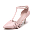 Latest formal shoes pink laser genuine leather upper buckle strap opinted toe popular 5cm high ladies shoes and bags