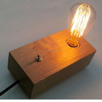 Modern Fancy Natural Wood Base Table Lamp Edison Bulb Table Lamp With Switch Desk Lamp