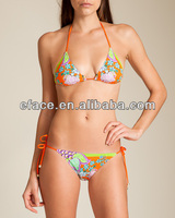 flower printing skimpy sling hot sexy girl beach bikini