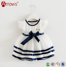 2016 Custom Good Quality Little Infant Baby Girls Spring Summer Autumn Dresses Clothes Cotton Mesh with Ribbon Design