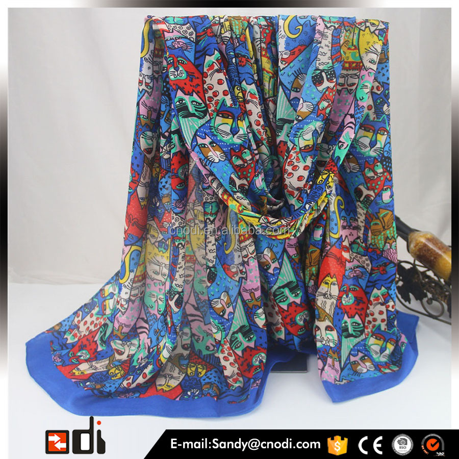 New arrival design colorful cat digital print scarf