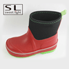 Heel Loop Black and Red Boy Cheap Neoprene Rubber Rain Boots