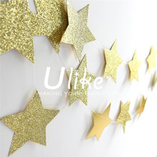Glitter Gold Sparkle Twikle Star Paper Garland for Wedding Birthday Party Baby Shower Holiday Decoration Table Wall Ceiling Deco