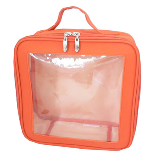 Cheap Clear PVC Cosmetic Bag Wash Bag In <strong>Orange</strong> Colour