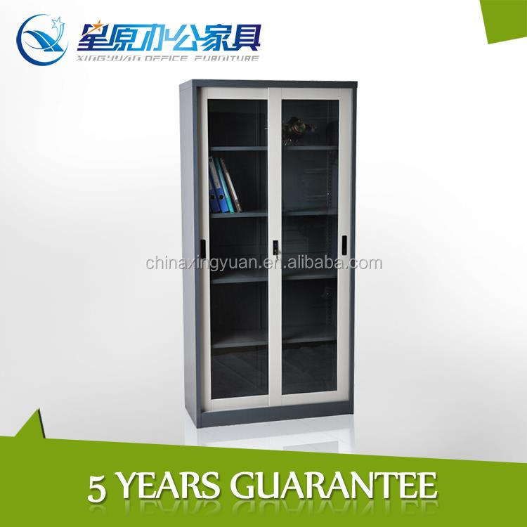 Metal frame home wardrobe cabinet closet glass sliding doors