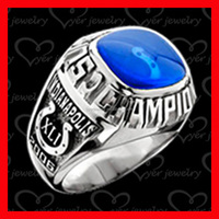 blue stone championship ring made of stainless steel high polish