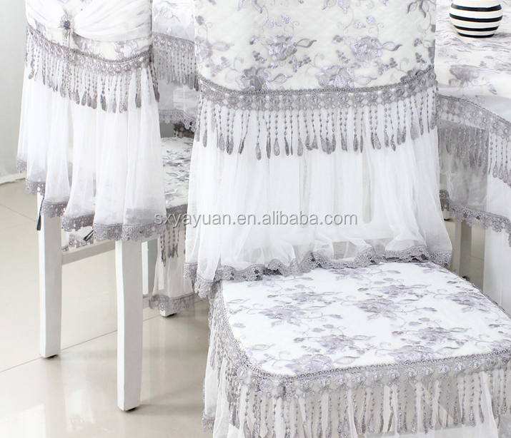 Luxury wedding satin rosette embroidered chair cover , satin chair topper