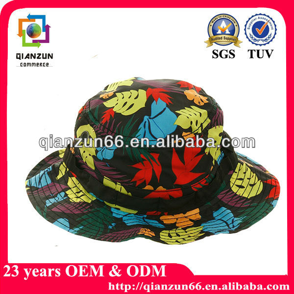 Fashion ladies cotton fabric hawaii floral bucket hat