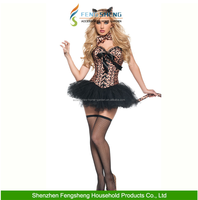 New Halloween Masquerade Fancy Dress Corset Suit Leopard Cat Girl Halloween Costumes
