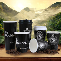 Black Luxury Disposable Custom Printed Paper Coffee Cup with Logo