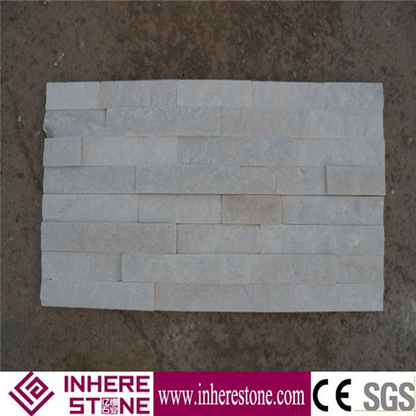 Pure white stacked cultured prefab stone wall