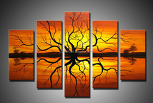 Wall paintings 5 pieces handmade african abstract oil painting on canvas