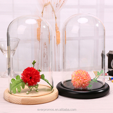 Decorative Flower Glass Dome Vase with Wooden Base