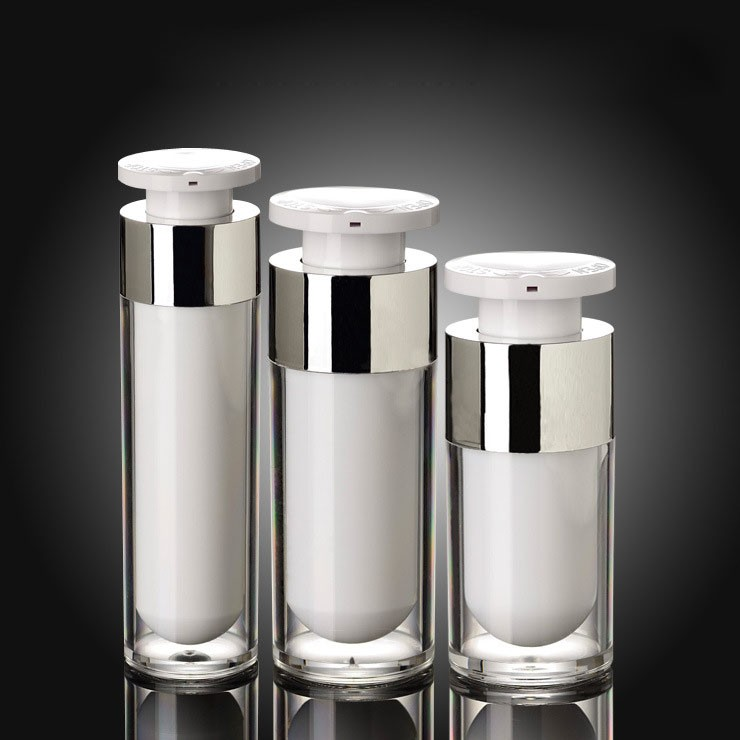 15ML 30ML 50ML Airless Cosmetic Pump Bottle White Painting With Silver Decorations