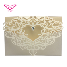Dilian Wedding New Heart Design Laser Cut Pocket Wedding Invitation Card