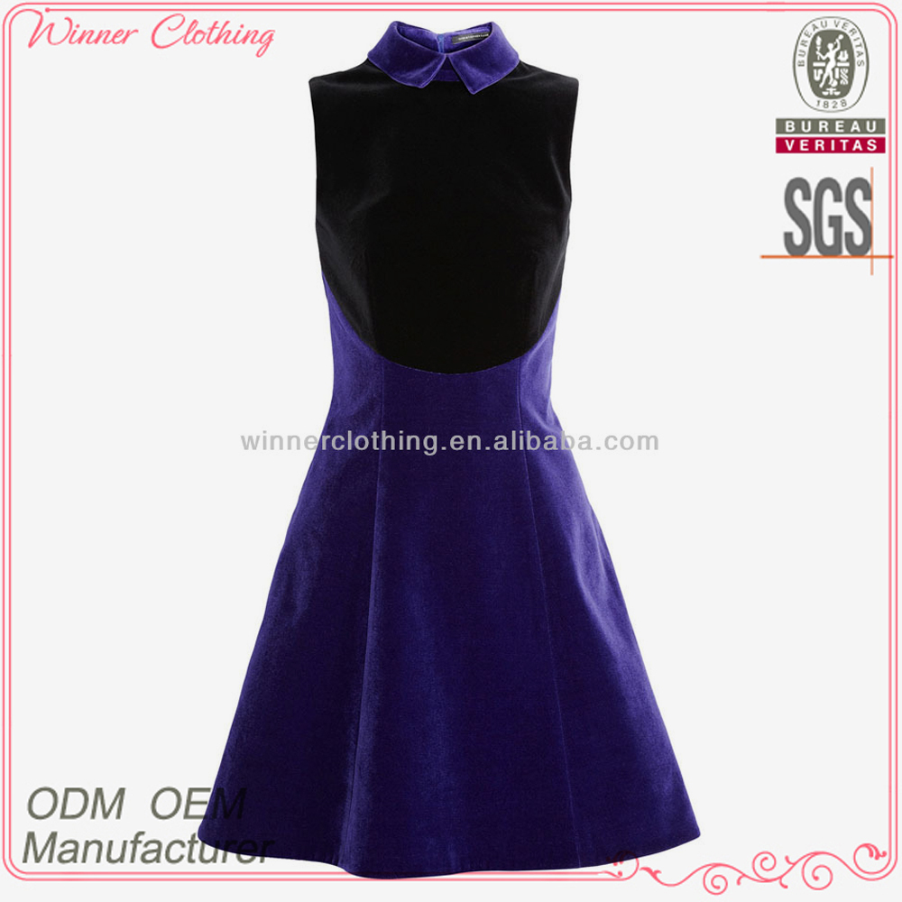 Ladies' chinese collar color combination high quality direct manufacture frivolous dress order