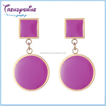 Fashion gold plated stainless steel enameled polki jhumka earrings