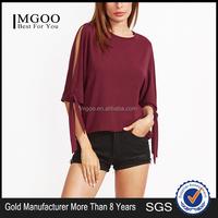 Burgundy Tied Split Sleeve T-shirt 95% Rayon 5% Spandex Elegant Bow Tie Cuff Tee Shirt Plain 3/4 Sleeve