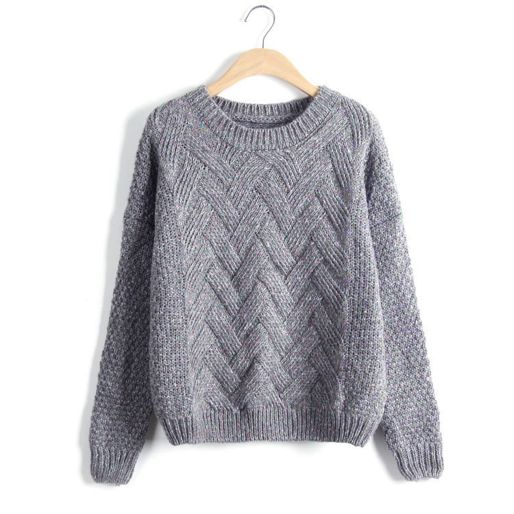 2016 Pullover Check Handmade Knit Woollen Cable Knit Sweater Patterns