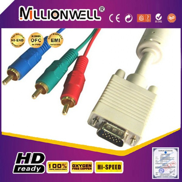 Cable vga rca,vga to 3 rca,vga rca red white yellow