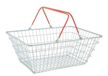metal shopping basket with chrome plating surface
