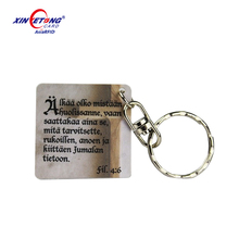 Custom Size Printing Plastic Key Tag with Punched Hole and Metal Key Chain for Promotion, VIP, Loyalty, Membership