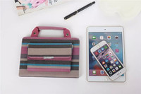 Simple Stripe Leather Stand Folio Handbag case for iPad Mini 4, for ipad mini4 handbag with holder