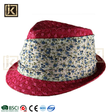JAKIJAYI make your own design summer red paper made decorate fedora hat womens