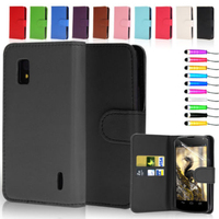 Flip Leather Wallet Case Cover For LG Google Nexus 4 E960
