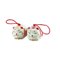 Personalized Handmade Color Glazed Decorative Ceramic Lucky Cat Wind Bell