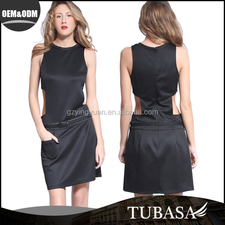 clothing manufacturers china Elegant Sleeveless cut out lacy fitted black cocktail dress for ladies, latest dress designs