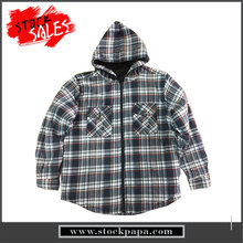 Latest design winter cotton plaid hooded coats for men