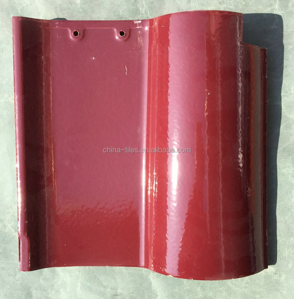 Red Glossy Clay Roof Tile in Spainish Style