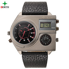 NORTH Square Shaped Male Man Digital Wrist Watch with Light Green Luminous